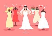 결혼 (사건), 축하이벤트 (사건), 결혼, 웨딩드레스 (드레스), 신부 (결혼식역할), 드레스, 마네킹