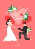 결혼 (사건), 축하이벤트 (사건), 결혼, 웨딩드레스 (드레스), 부부, Just Married (짧은문구), 꽃, 꽃다발, 프로포즈