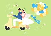 결혼 (사건), 축하이벤트 (사건), 결혼, 웨딩드레스 (드레스), 부부, Just Married (짧은문구), 오토바이 (자동차류)