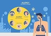 일러스트, 알레르기 (건강관리), 질병 (건강이상), 병원 (의료시설), 클리닉 (의료시설), 바이러스 (미생물), 기침 (움직이는활동), 감기, 결핵 (Mycobacterium), 천식호흡기 (약)