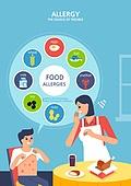 일러스트, 알레르기 (건강관리), 질병 (건강이상), 병원 (의료시설), 클리닉 (의료시설), 바이러스 (미생물)