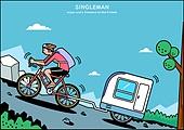 일러스트, 라이프스타일 (주제), 싱글라이프 (주제), 독신 (역할), 취미 (주제), 행복 (컨셉), 만족 (컨셉), 캠핑 (아웃도어), 캠핑트레일러, 자전거