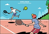 일러스트, 라이프스타일 (주제), 싱글라이프 (주제), 독신 (역할), 취미 (주제), 행복 (컨셉), 만족 (컨셉), 테니스 (라켓스포츠), 테니스공 (공), 테니스네트 (네트)