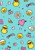 패턴, 일러스트, 캐릭터, 백그라운드, 스티커, 동물, 팬시 (사무용품)