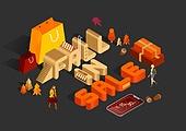 가을, 연례행사 (사건), 상업이벤트 (사건), 웹배너 (인터넷), 세일 (사건), 쇼핑 (상업활동), 이벤트페이지 (웹사이트), 일러스트, 온라인쇼핑