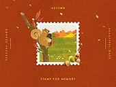 추억, 프레임, 우표, 가을, 계절