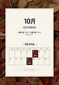 팝업, 달력, 10월, 휴무, 가을, 안내 (컨셉), 잎