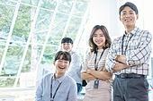 스타트업, 사무실, 미소, 밝은표정