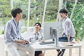 스타트업, 사무실, 대화, 미소