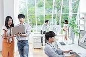 스타트업, 사무실, 대화