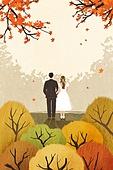 결혼 (사건), 결혼, 가을, 풍경 (컨셉), 신혼부부, 포즈 (몸의 자세), 나무, 단풍나무 (낙엽수), 웨딩드레스 (드레스)