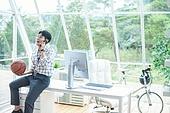 스타트업, 사무실, 벤처사업가 (역할), 비즈니스맨 (사업가), 농구공, 던지기