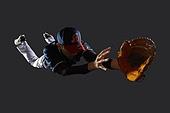 사진, 누끼 (누끼), 스포츠, 야구, 레저활동 (활동), 야구선수, 한국인, 남성, 스튜디오촬영 (실내), 모션, 수비선수 (선수), 미끄러짐 (움직이는활동)