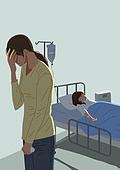 육아, 아기 (인간의나이), 질병, 고통, 안아키, 부모, 고통 (컨셉), 병원 (의료시설), 병실 (병원), 정맥주사 (의료도구)