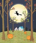 가을, 가을 (계절), 풍경 (컨셉), 할로윈, 나무, 박과 (채소), 밤 (시간대), 마녀, 보름달