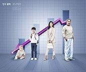 그래픽이미지, 사회이슈 (주제), 인구절벽 (컨셉), 인구절벽, 그래프, 인포그래픽, 화살표, 나이차이 (주제)