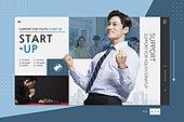 웹템플릿, 프레임, 메인페이지 (이미지), 비즈니스, 스타트업, 스타트업 (소기업), 기업, 시작, 비즈니스맨, 남성