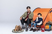 아빠, 아들, 캠핑, 함께함 (컨셉), 미소, 밝은표정
