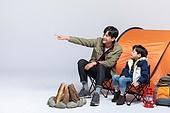 아빠, 아들, 캠핑, 함께함 (컨셉), 미소