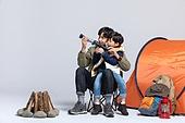 아빠, 아들, 캠핑, 함께함 (컨셉), 천체망원경 (현미경), 미소