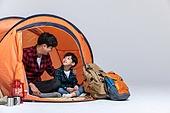 아빠, 아들, 캠핑, 함께함 (컨셉), 어깨동무