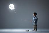 어린이 (인간의나이), 소년, 빛 (자연현상), 밧줄 (인조물건), 홀딩 (만지기), 미소