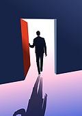 비즈니스, 화이트칼라 (전문직), 성공, 뒷모습, 문 (출입구)
