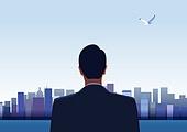 비즈니스, 화이트칼라 (전문직), 성공, 뒷모습, 고층빌딩 (회사건물)