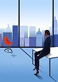 비즈니스, 화이트칼라 (전문직), 성공, 뒷모습, 고층빌딩 (회사건물), 비즈니스우먼