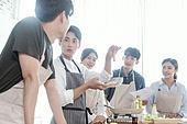 쿠킹클래스, 일생활균형 (컨셉), 배움 (컨셉), 주방 (건설물), 수업중 (교육), 설명, 음식재료, 레시피