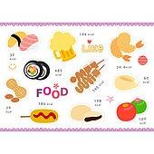 아이콘세트 (아이콘), 그림아이콘, 벡터 (일러스트), 새우튀김, 맥주, 김밥, 음식