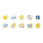 아이콘세트 (아이콘), 벡터 (일러스트), 그림아이콘, 해, 우산, 눈사람, 날씨
