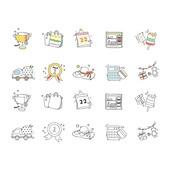 아이콘세트 (아이콘), 벡터 (일러스트), 그림아이콘, 가방, 달력, 메달, 모자