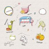 아이콘세트 (아이콘), 벡터 (일러스트), 그림아이콘, 햄버거, 음료, 카페