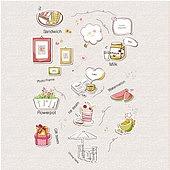 아이콘세트 (아이콘), 벡터 (일러스트), 그림아이콘, 카페, 샌드위치, 선물, 아이스크림