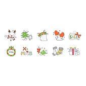 아이콘세트 (아이콘), 벡터 (일러스트), 그림아이콘, 크리스마스, 양말, 선물