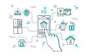 일러스트, 벡터 (일러스트), 5G, 비즈니스, 스마트폰, 보안, 미래, 기술, 원격, 와이파이, 사물인터넷, IOT