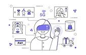 일러스트, 벡터 (일러스트), 5G, 비즈니스, 쇼핑, VR, 손, 터치, 기술, 원격, 사물인터넷, IOT