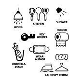 아이콘세트 (아이콘), 라이프스타일 (주제), 픽토그램, 벡터 (일러스트), 샤워, 우산, 마스크, 빨래
