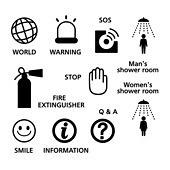 아이콘세트 (아이콘), 라이프스타일 (주제), 픽토그램, 벡터 (일러스트), 소화기, 멈춤, 물음표, 정보