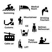 아이콘세트 (아이콘), 라이프스타일 (주제), 픽토그램, 벡터 (일러스트), 치료실, 식수, 얼음, 등산, 리프트