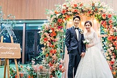 남성, 여성, 결혼식, 커플, 손잡기, 미소