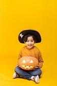 할로윈 (홀리데이), 어린이 (인간의나이), 호박등 (랜턴), 한국인, 소년, 미소, 즐거움