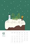 일러스트, 달력, 2020년, 계절, 12월, 눈 (얼어있는물)