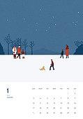 일러스트, 달력, 계절, 1월, 눈 (얼어있는물), 2021년