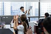 사무실, 한국인, 비즈니스, 팀워크, 팀워크 (협력), 성공, 성공 (컨셉), 박수, 성원 (컨셉)