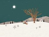 겨울, 풍경 (컨셉), 동화, 눈 (얼어있는물), 만년설원 (눈), 달 (하늘)