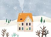 겨울, 풍경 (컨셉), 동화, 눈 (얼어있는물), 만년설원 (눈), 집
