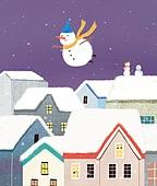 겨울, 풍경 (컨셉), 동화, 눈 (얼어있는물), 눈사람, 밤 (시간대)