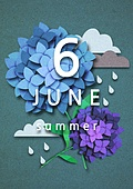 종이 (재료), 페이퍼아트, 달력, 월, 6월, 수국, 꽃